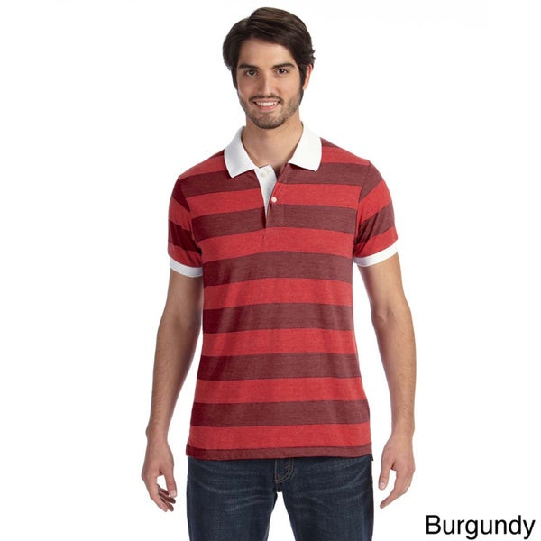 Alternative Men's Striped Short Sleeve Polo Shirt