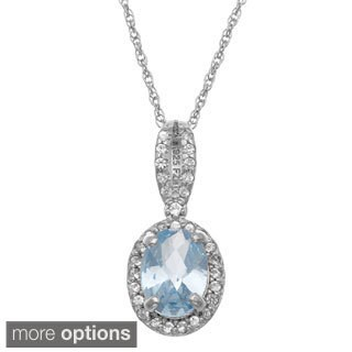 Gioelli Sterling Silver Oval-cut Created Gemstone and White Sapphire Accent Pendant Necklace