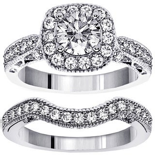14k/ 18k Gold or Platinum 2 3/4ct TDW Halo Brilliant-cut Diamond Bridal Ring Set (F-G, SI1-SI2)
