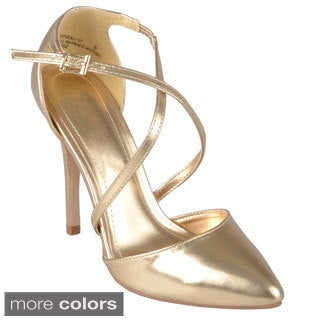 Journee Collection Women's 'Spiral-07' Pointed Toe Metallic Pumps