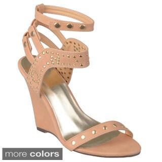 Journee Collection Women's 'Jaida-17' Studded Wedge Sandals