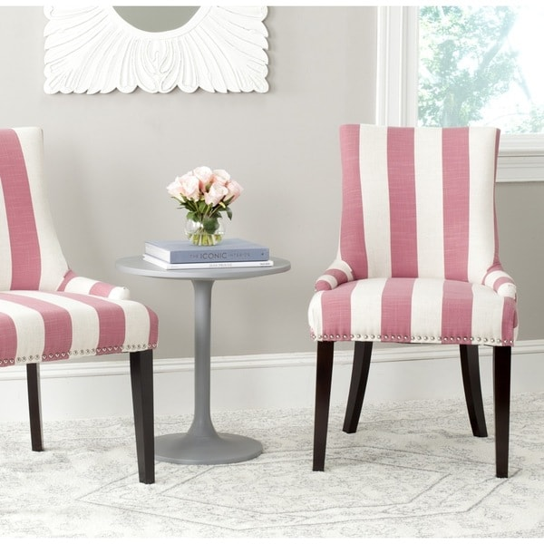 Safavieh Lester Pink/ White Stripe Dining Chair (Set of 2)