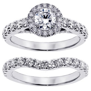 14/ 18k White Gold or Platinum 2 1/3ct TDW Brilliant-cut Diamond Bridal Set (F-G, SI1-SI2)