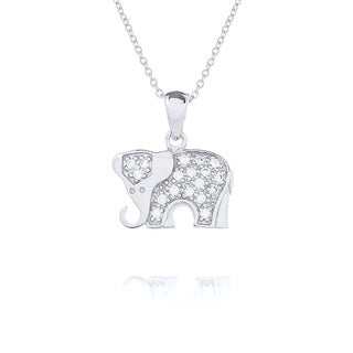 Blue Box Jewels Rhodium-plated Sterling Silver Cubic Zircona Elephant Pendant Necklace