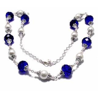 White Glass Pearl and Navy Blue Crystal 4-piece Wedding Jewelry Set