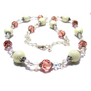 Salmon Crystal and Textured Ivory Glass Pearl 4-piece Wedding Jewelry Set