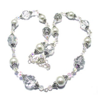 White Glass Pearl and Clear Crystal 4-piece Wedding Jewelry Set