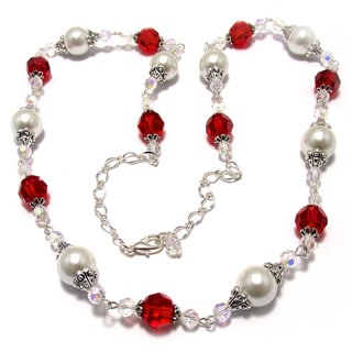 White Pearl and Siam Red Crystal 4-piece Weding Jewelry Set