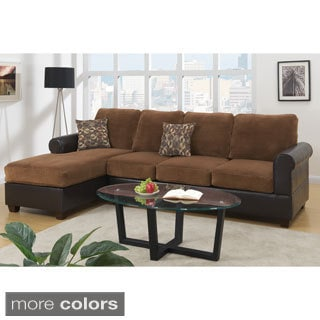 Perama Sectional Sofa in Dual Trim Padded Suede & Faux Leather