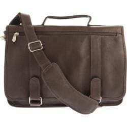 Piel Leather Double Loop Expandable Laptop Briefcase 3004 Chocolate Leather