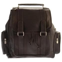 Piel Leather Double Loop Flap-Over Laptop Backpack 3000 Chocolate Leather