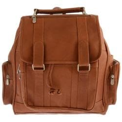 Piel Leather Double Loop Flap-Over Laptop Backpack 3000 Saddle Leather