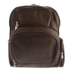 Piel Leather Half-Moon Laptop Backpack 2992 Chocolate Leather
