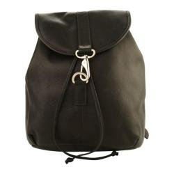 Piel Leather Medium Drawstring Backpack 3019 Black Leather