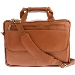 Piel Leather Slim Top-Zip Briefcase 3002 Saddle Leather