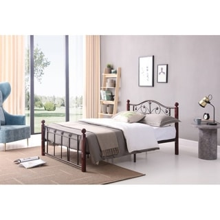 Flower Designed Wood Post Bed with Metal Frame