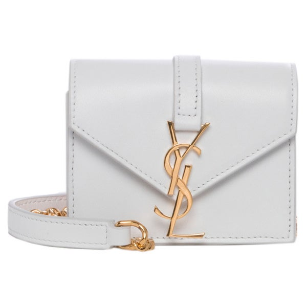 Saint Laurent Mini Monogram Candy White Leather Crossbody Bag