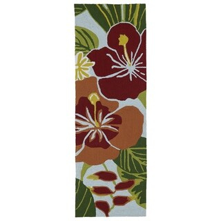 Indoor/Outdoor Luau Blue Jungle Rug (2' x 6')
