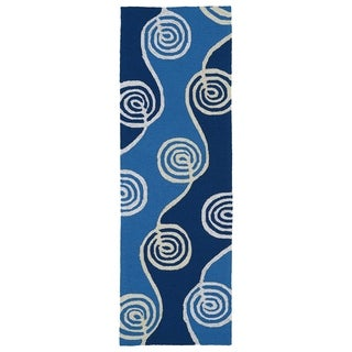 Indoor/Outdoor Fiesta Waves Blue Rug (2' x 6')