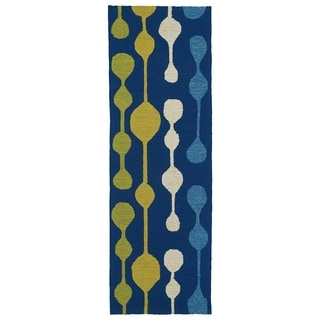 Indoor/Outdoor Fiesta Lights Blue Rug (2' x 6')