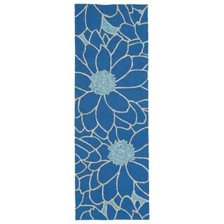 Indoor/Outdoor Fiesta Blue Flower Rug (2' x 6')