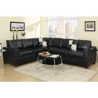 L Shape Sectional Sofa in Black Bonded Leather Finish with Free Accent Pillows