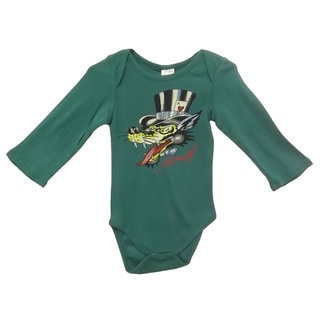 Ed Hardy Boys' Crafty Fox Long Sleeve Bodysuit in Green