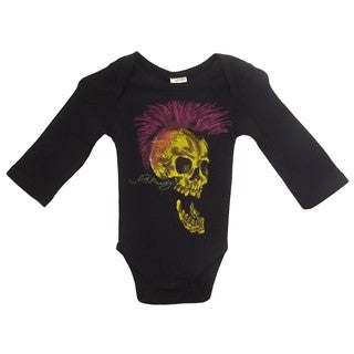 Ed Hardy Boys' Long Sleeve Skull Bodysuit in Black