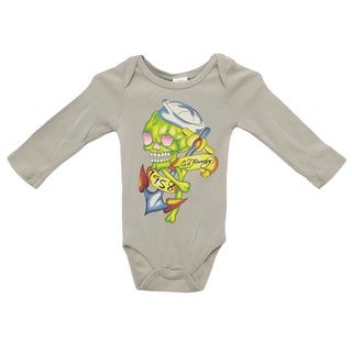 Ed Hardy Boys' Long Sleeve Sailor Skull Bodysuit in Green