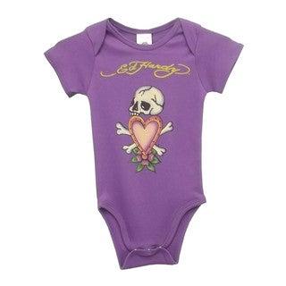 Ed Hardy Girls' Skull Heart Short Sleeve Bodysuit in Purple
