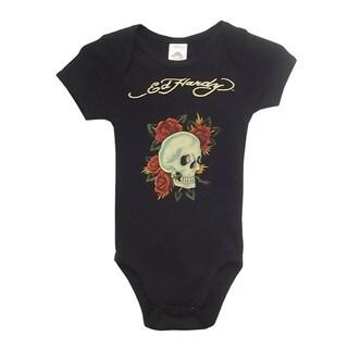 Ed Hardy Girls' Short Sleeve Skull Rose Bodysuit in Black