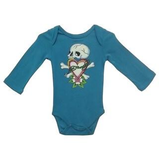 Ed Hardy Girls' Baby Long Sleeve Skull Bodysuit in Teal