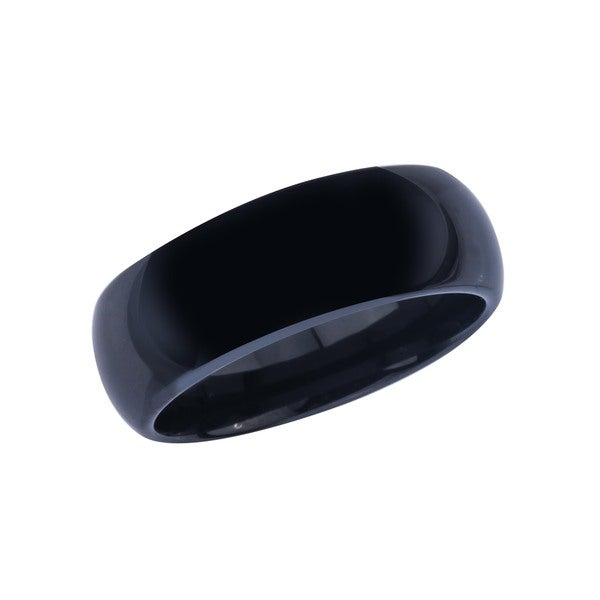 Ceramic Men's 8MM Black High Polish Half Round Band