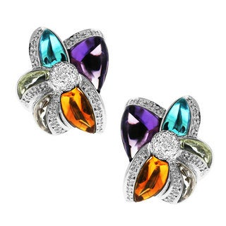 Sonia Bitton 14k White Gold 1/2ct TDW White Diamond Multi-gemstone Earrings
