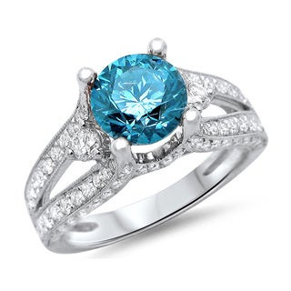 18k White Gold 2ct TDW Blue Round Diamond Ring (F-G, SI1-SI2)