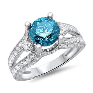 Noori 18k White Gold 2ct TDW Blue Round Diamond Ring (F-G, SI1-SI2)