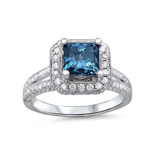 18k White Gold 2ct Blue Princess-cut Diamond Engagement Ring (G-H, SI1-SI2)