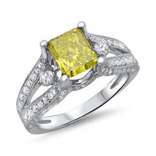 Noori 18k Gold 2ct TDW Canary Yellow Cushion-cut Diamond Engagement Ring (F-G, SI1-SI2)