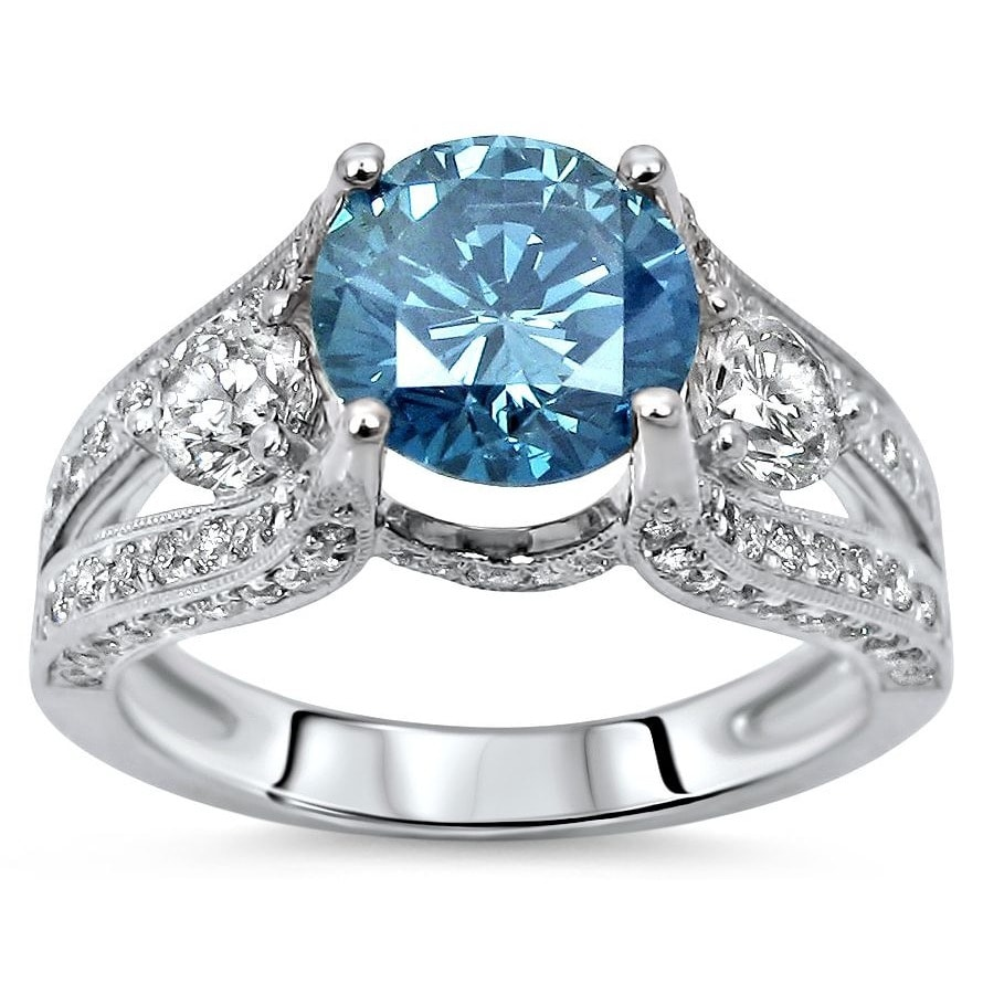 Overstock.com 18k Gold 2 3/5ct TDW Round Blue Diamond Engagement Ring (F-G, SI1-SI2)