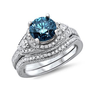14k White Gold 1 3/8 TDW Round-cut Blue Diamond Bridal Set (G-H, SI1-SI2)