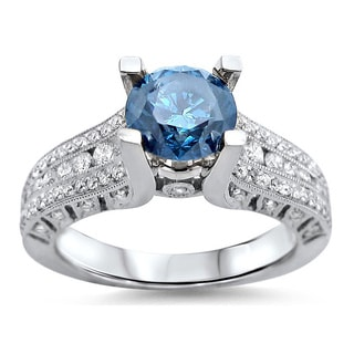 14k White Gold 1 1/2ct TDW Blue Round Diamond Ring (F-G, SI1-SI2)