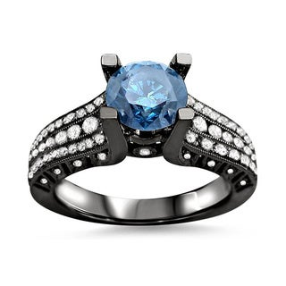 14k Black Gold 1 1/2ct TDW Blue Round Diamond Ring (F-G, SI1-SI2)