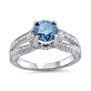 14k White Gold 1 1/2ct TDW Blue Round Diamond 3-stone Engagement Ring (F-G, SI1-SI2)