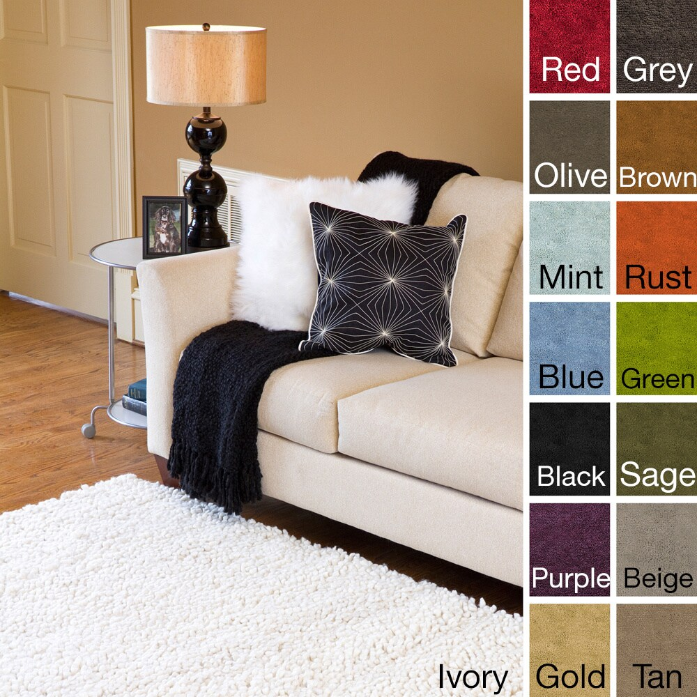 Overstock.com Hand-woven Ashley New Zealand Felted Wool Shag Area Rug (8' x 10'6) at Sears.com