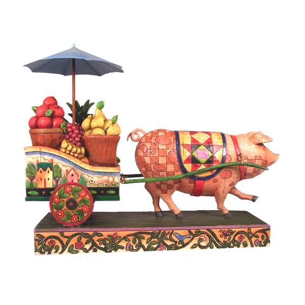 Jim Shore Pig Pulling Cart Figurine