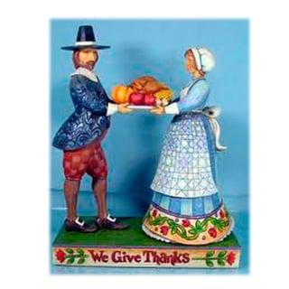 Jim Shore Pilgrims with Platter Figurine