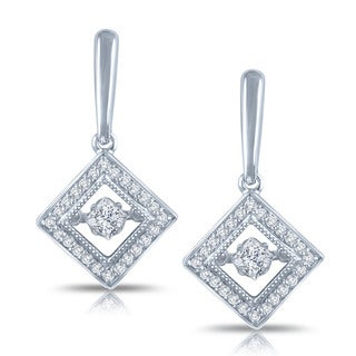 Auriya 14k White Gold 1/2ct TDW Dancing Stone Moving Diamond Earrings (H-I, I1-I2)