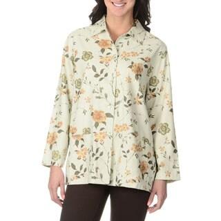 La Cera Women's Ivory Floral Print Silk Button-front Top