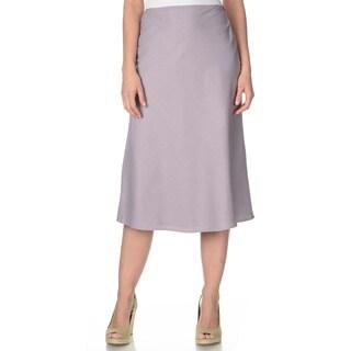 La Cera Women's Lavender Silk A-line Skirt
