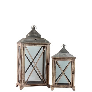 Wooden Lantern Antique Set of Two